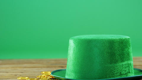 Leprechauns hat and gold on table for st patricks Live Action