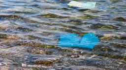 plastic bags floating water sea ocean pollution garbage polluted polluting waste Footage