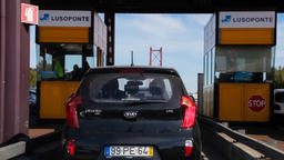 toll booth gate car automobile driver paying payment stopping crossing driving Footage