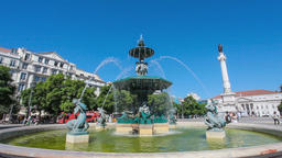 fountain Rossio Lisbon mermaids water jets Dom Pedro IV square theatre Maria II Footage