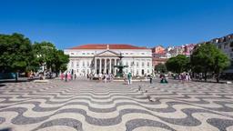 Dona Maria II theatre Lisbon Rossio square Dom Pedro IV baixa cobblestone street Footage