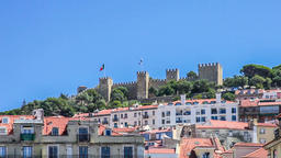 Sao Jorge castle Lisbon top hill saint st george baixa cityscape roofs hills Footage