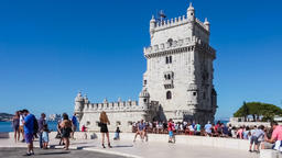 Lisbon Belem Tower gothic castle tourists visit visiting tagus river Manueline Footage