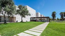 Lisbon centro cultural de Belem ccb garden museum jardim das oliveiras grass Footage