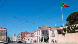 Lisbon Belem palace presidential president republic republican residence flag Footage
