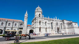 Lisbon Jeronimos Monastery Hieronymites abbey gothic facade manuelino manueline Footage