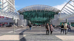 Vasco da Gama Shopping Centre Center mall Lisbon people crossing road crosswalk Footage