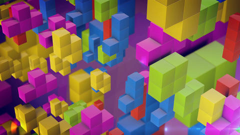 Colorful 3d tetris games blocks fall down Animation