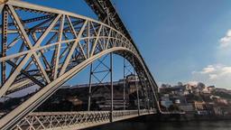 Porto Dom Luis I bridge Ribeira Douro river sun lens flare lens flare oPorto Footage
