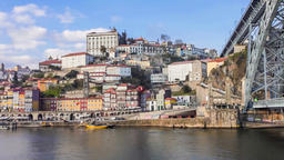 Porto Douro river cruise boat Ribeira Dom Luis I bridge passing under oPorto Footage