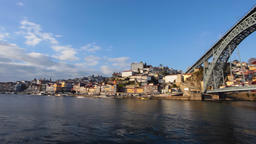 Porto Ribeira Douro river Portugal Dom Luis I bridge Luiz oPorto city cityscape Footage