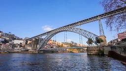 Porto Dom Luis I bridge Ribeira Douro river Portugal Luiz oPorto city cityscape Footage