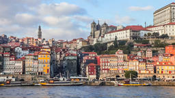Porto Ribeira district buildings Portugal Douro river Oporto typical houses Footage