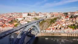 Porto Ribeira Dom Luis I bridge Douro river Portugal Luiz oPorto city cityscape Footage