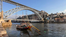 Porto Ribeira Rabelo boats Dom Luis I bridge Douro river boat rabelos Port Wine Footage