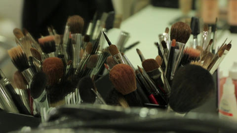 Set Of Makeup Brushes 02 Footage