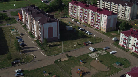 Residential District Town with Multi-storey Houses Aerial View Footage