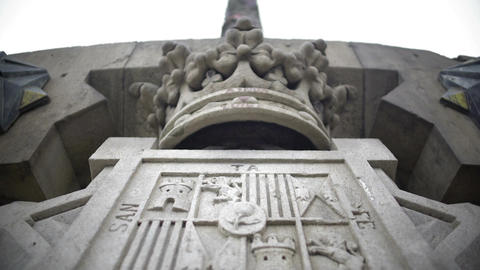 Design detail of Columbus Monument in Barcelona, Spain, Santa Fe coat-of-arms Footage