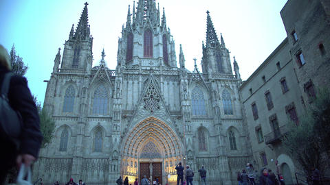 Gothic facade of Holy Cross and Saint Eulalia Cathedral in Barcelona, Spain Footage