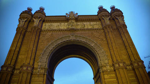 Arc de Triomf in Barcelona, ornamented front frieze, Spanish architecture sight Footage