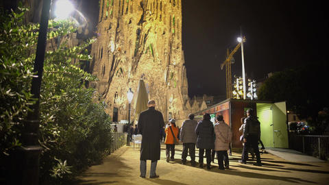 Impressive Sagrada Familia church in Barcelona, Spain, Gaudi's architecture Footage