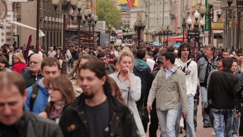 Walking people on Old Arbat Street Footage