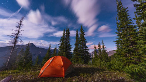 Time lapse of night sky with tent camping Footage