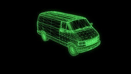 Transporter in Hologram Wireframe. Nice 3D Rendering Animation