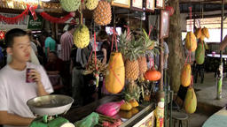 Malaysia Penang island 059 fruit stall at the street in a rural district Footage