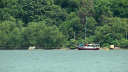 Malaysia Penang island 067 sailing boat on Pulau Jerejak island Footage