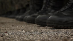 Detail of soldiers black shoes Footage