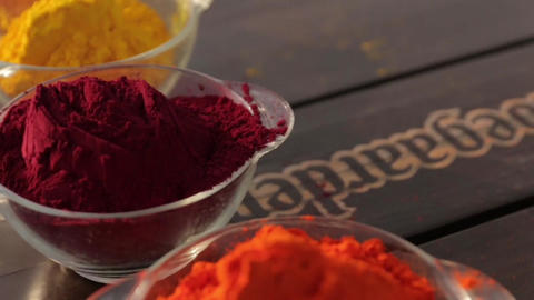 Holi Colored Powder In Bowls push out Footage