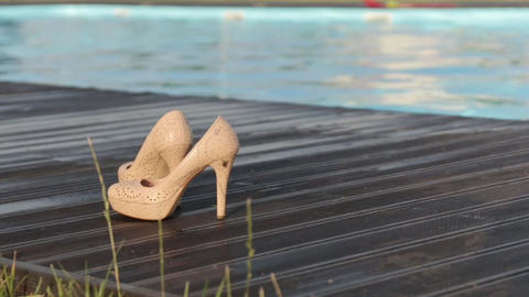 Womens Shoes By The Pool Footage