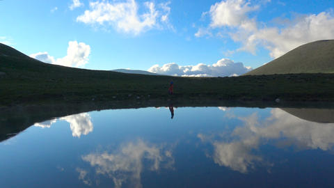 Scenic mountain lake in Caucasian biosphere reserve. Russia Live Action