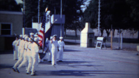 1957: USA old navy military flag ceremony honoring soldiers. BUFFALO, NEW YORK Footage