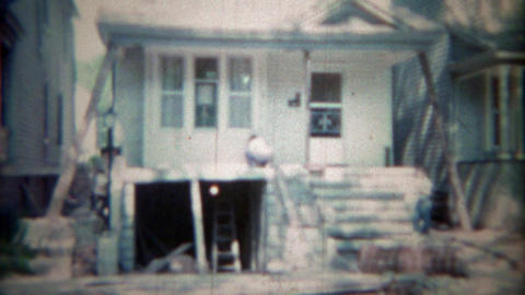 1963: City home remodeling garage construction project. BUFFALO, NEW YORK Footage