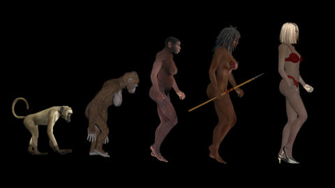 women's evolution , the classic scheme, animation, transparent background Live Action