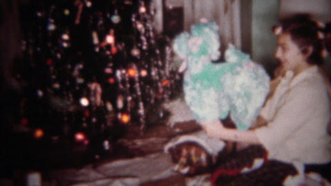 1962: Girl in hair curlers opens stuffed animal toy at Christmas tree. BUFFALO,  Footage