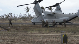 V-22 Ospreys, Marine Conducting Forward Arming and Refueling Point Operations Footage