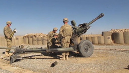 Soldiers Fire M119 Howitzer canon Footage