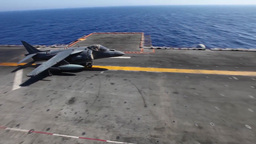 AV-8B Harrier Takeoff launch from flight deck Footage