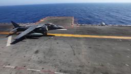 AV-8B Harrier Takeoff Launch From Flight Deck stock footage