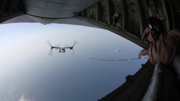 MV-22B Ospreys and KC-130J Hercules conduct aerial refueling training Footage