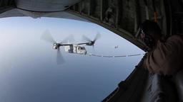 MV-22B Ospreys and KC-130J Hercules conduct aerial refueling training Footage