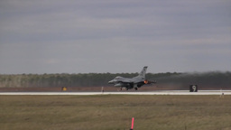 F-16 Viper take off roll in full military afterburner Footage
