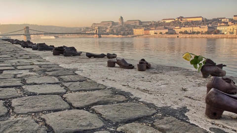 """View of the River Danube in Budapest. on the Banks of the Monument """"bronze Shoe"""" Footage"""