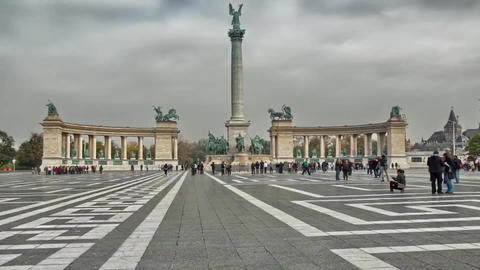 Budapest Heroes Square or Heshek Tere - One of the Largest Areas of Budapest, Co Footage