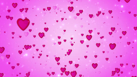 Romantic wedding pink background. The movement of red hearts. Love symbol. Valen Animation