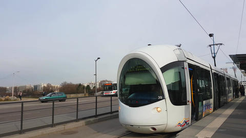 Tramway And Musee des Confluences in Lyon Footage