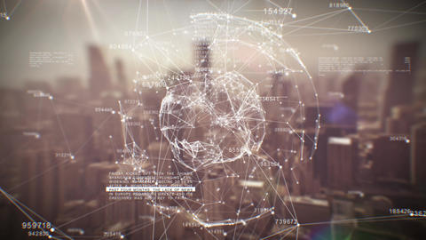 Beautiful Global Business Hologram. Loop Animation of Digital Sphere over Abstra Animation